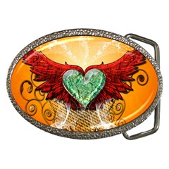 Beautiful Heart Made Of Diamond With Wings And Floral Elements Belt Buckles