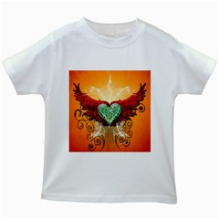 Beautiful Heart Made Of Diamond With Wings And Floral Elements Kids White T-Shirts