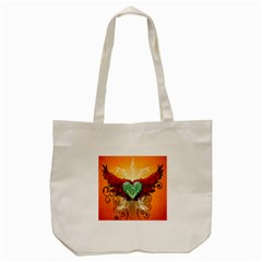 Beautiful Heart Made Of Diamond With Wings And Floral Elements Tote Bag (Cream)