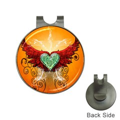 Beautiful Heart Made Of Diamond With Wings And Floral Elements Hat Clips with Golf Markers