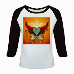 Beautiful Heart Made Of Diamond With Wings And Floral Elements Kids Baseball Jerseys