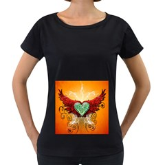 Beautiful Heart Made Of Diamond With Wings And Floral Elements Women s Loose-Fit T-Shirt (Black)