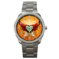 Beautiful Heart Made Of Diamond With Wings And Floral Elements Sport Metal Watches