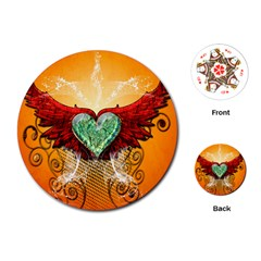 Beautiful Heart Made Of Diamond With Wings And Floral Elements Playing Cards (Round)