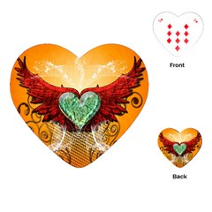 Beautiful Heart Made Of Diamond With Wings And Floral Elements Playing Cards (heart)