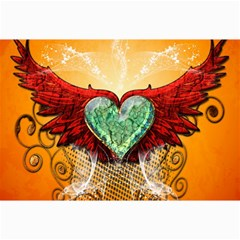 Beautiful Heart Made Of Diamond With Wings And Floral Elements Collage 12  X 18