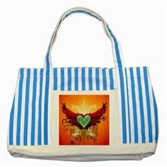 Beautiful Heart Made Of Diamond With Wings And Floral Elements Striped Blue Tote Bag