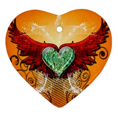 Beautiful Heart Made Of Diamond With Wings And Floral Elements Heart Ornament (2 Sides)