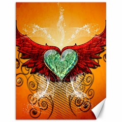 Beautiful Heart Made Of Diamond With Wings And Floral Elements Canvas 12  x 16