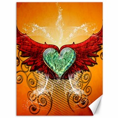 Beautiful Heart Made Of Diamond With Wings And Floral Elements Canvas 36  x 48