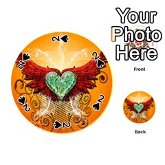Beautiful Heart Made Of Diamond With Wings And Floral Elements Playing Cards 54 (Round)