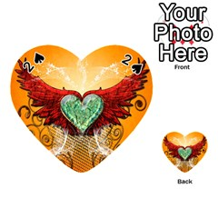 Beautiful Heart Made Of Diamond With Wings And Floral Elements Playing Cards 54 (Heart)