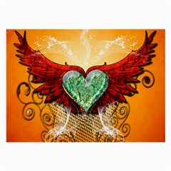 Beautiful Heart Made Of Diamond With Wings And Floral Elements Large Glasses Cloth (2-Side)