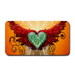 Beautiful Heart Made Of Diamond With Wings And Floral Elements Medium Bar Mats