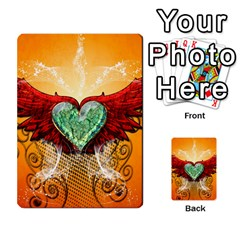 Beautiful Heart Made Of Diamond With Wings And Floral Elements Multi Purpose Cards (rectangle)