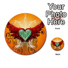 Beautiful Heart Made Of Diamond With Wings And Floral Elements Multi-purpose Cards (Round)