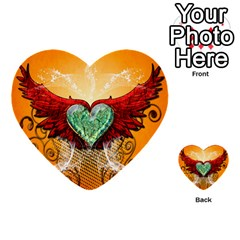 Beautiful Heart Made Of Diamond With Wings And Floral Elements Multi Purpose Cards (heart)