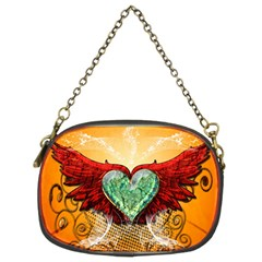 Beautiful Heart Made Of Diamond With Wings And Floral Elements Chain Purses (Two Sides)