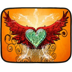 Beautiful Heart Made Of Diamond With Wings And Floral Elements Fleece Blanket (Mini)