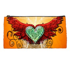 Beautiful Heart Made Of Diamond With Wings And Floral Elements Pencil Cases