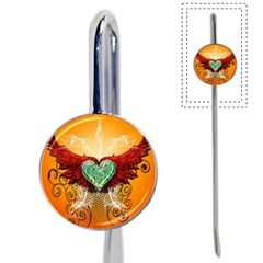 Beautiful Heart Made Of Diamond With Wings And Floral Elements Book Mark