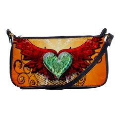 Beautiful Heart Made Of Diamond With Wings And Floral Elements Shoulder Clutch Bags