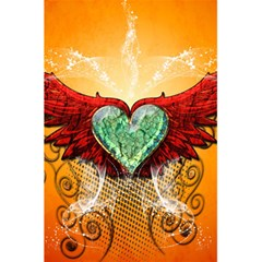 Beautiful Heart Made Of Diamond With Wings And Floral Elements 5 5  X 8 5  Notebooks