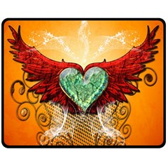 Beautiful Heart Made Of Diamond With Wings And Floral Elements Fleece Blanket (Medium)
