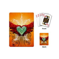 Beautiful Heart Made Of Diamond With Wings And Floral Elements Playing Cards (Mini)