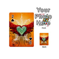 Beautiful Heart Made Of Diamond With Wings And Floral Elements Playing Cards 54 (Mini)