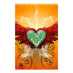 Beautiful Heart Made Of Diamond With Wings And Floral Elements Shower Curtain 48  x 72  (Small)