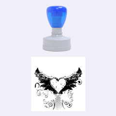 Beautiful Heart Made Of Diamond With Wings And Floral Elements Rubber Round Stamps (medium)