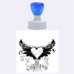 Beautiful Heart Made Of Diamond With Wings And Floral Elements Rubber Round Stamps (large)