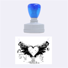 Beautiful Heart Made Of Diamond With Wings And Floral Elements Rubber Oval Stamps