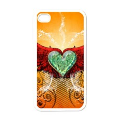 Beautiful Heart Made Of Diamond With Wings And Floral Elements Apple iPhone 4 Case (White)