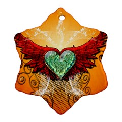 Beautiful Heart Made Of Diamond With Wings And Floral Elements Ornament (snowflake)
