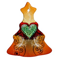 Beautiful Heart Made Of Diamond With Wings And Floral Elements Christmas Tree Ornament (2 Sides)