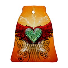 Beautiful Heart Made Of Diamond With Wings And Floral Elements Bell Ornament (2 Sides)