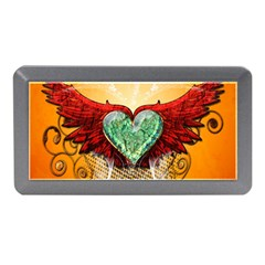 Beautiful Heart Made Of Diamond With Wings And Floral Elements Memory Card Reader (mini)