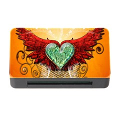 Beautiful Heart Made Of Diamond With Wings And Floral Elements Memory Card Reader with CF