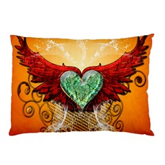 Beautiful Heart Made Of Diamond With Wings And Floral Elements Pillow Cases (two Sides)