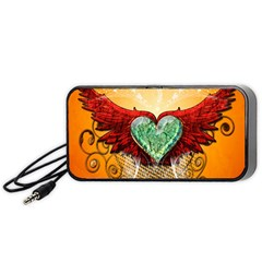 Beautiful Heart Made Of Diamond With Wings And Floral Elements Portable Speaker (Black)
