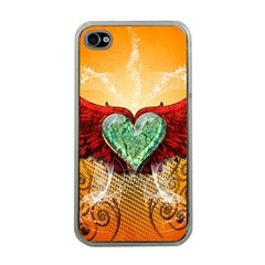 Beautiful Heart Made Of Diamond With Wings And Floral Elements Apple iPhone 4 Case (Clear)