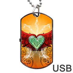 Beautiful Heart Made Of Diamond With Wings And Floral Elements Dog Tag Usb Flash (two Sides)