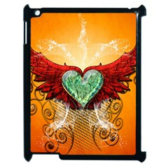Beautiful Heart Made Of Diamond With Wings And Floral Elements Apple Ipad 2 Case (black)