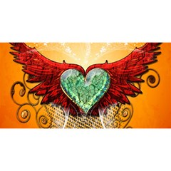 Beautiful Heart Made Of Diamond With Wings And Floral Elements You Are Invited 3d Greeting Card (8x4)