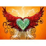 Beautiful Heart Made Of Diamond With Wings And Floral Elements Get Well 3D Greeting Card (7x5)  Back