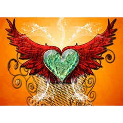 Beautiful Heart Made Of Diamond With Wings And Floral Elements Birthday Cake 3D Greeting Card (7x5)