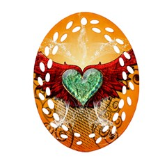 Beautiful Heart Made Of Diamond With Wings And Floral Elements Oval Filigree Ornament (2 Side)