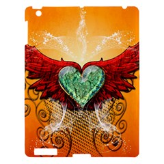 Beautiful Heart Made Of Diamond With Wings And Floral Elements Apple iPad 3/4 Hardshell Case
